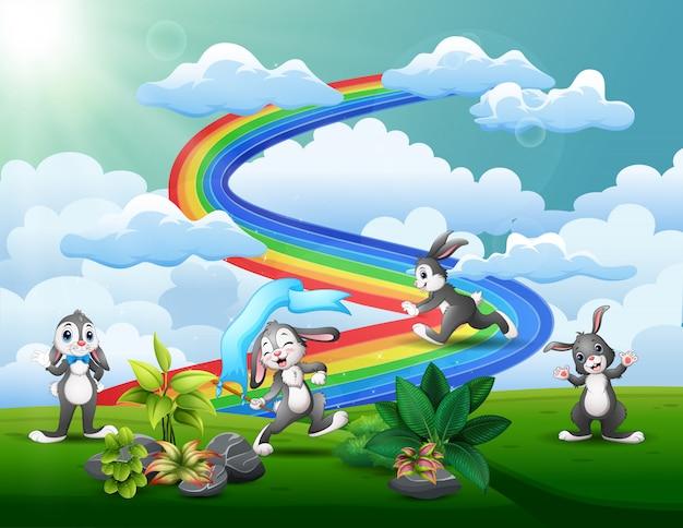 Coelhinhos engraçados jogando no topo da colina com um arco-íris