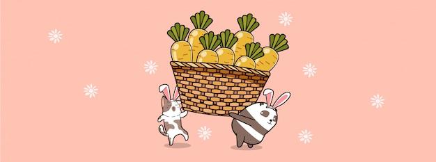 Coelhinhos estão carregando cenouras grandes