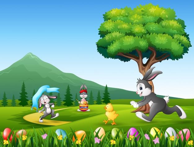 Coelhinhos felizes correndo no fundo da natureza