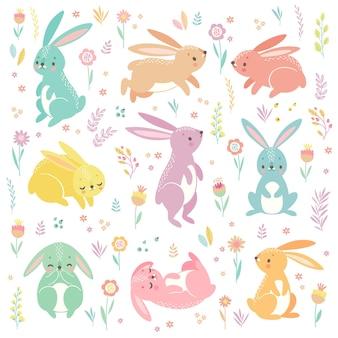 Coelhinhos fofos dormindo correndo sentados personagens adoráveis da páscoa