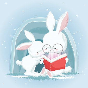 Coelhinhos fofos, lendo um livro