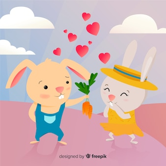 Coelhinhos fofos no desenho animado de amor