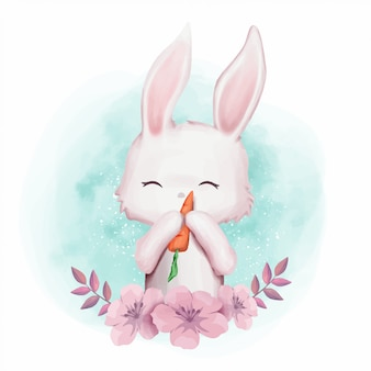 Coelho amor cenoura bonito berçário