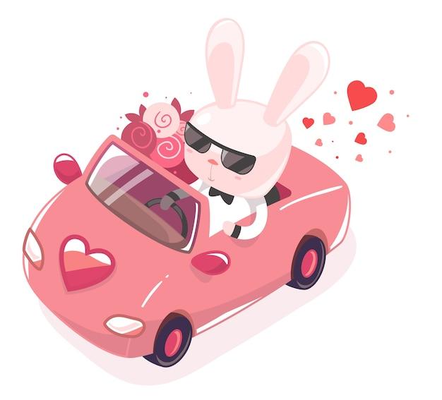 Coelho andando em um carro vermelho com um buquê