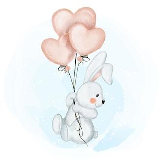 Coelho bebê fofo com balão amor ilustração aquarela