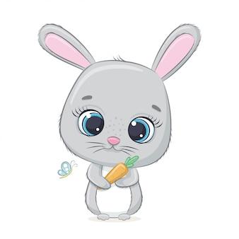 Coelho bebê fofo com cenoura.