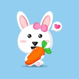 Coelho bonito carregando cenoura