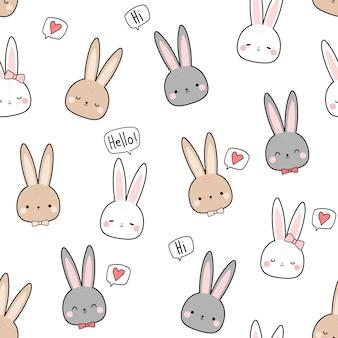 Coelho bonito coelho cabeça cartoon doodle padrão sem emenda