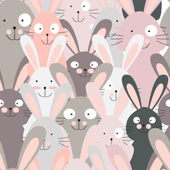 Coelho bonito coelho rosa sem costura padrão