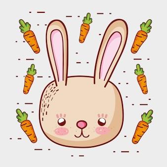 Coelho bonito com cartoons de cenouras doodle