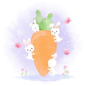 Coelho bonito com cenoura, aquarela desenhada mão dos desenhos animados