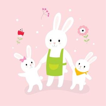 Coelho bonito da mamã dos desenhos animados e andar pequeno dos coelhos.
