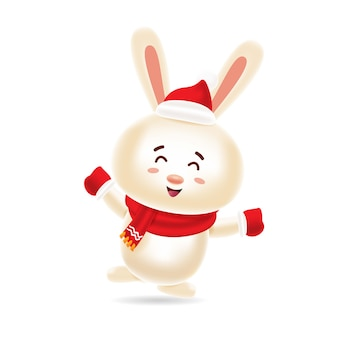 Coelho bonito dançando com tampa vermelha e lenço vermelho