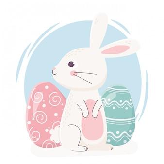 Coelho bonito de feliz páscoa, olhando de lado com ilustração de celebração de decoração de ovos
