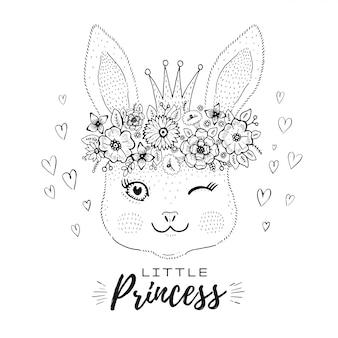 Coelho bonito doodle em coroa de princesa e coroa de flores