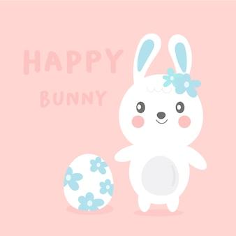 Coelho bonito dos desenhos animados com ovo de flores para o dia de páscoa