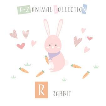 Coelho bonito dos desenhos animados doodle alfabeto animal r