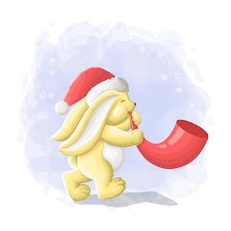 Coelho bonito dos desenhos animados ilustração de feliz natal