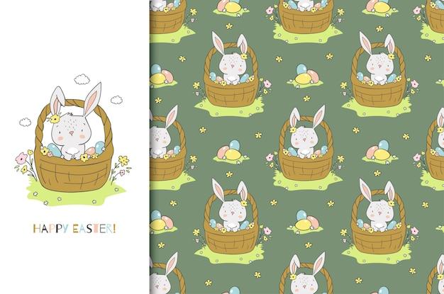 Coelho bonito dos desenhos animados na cesta. cartão e conjunto padrão sem emenda. desenhado à mão