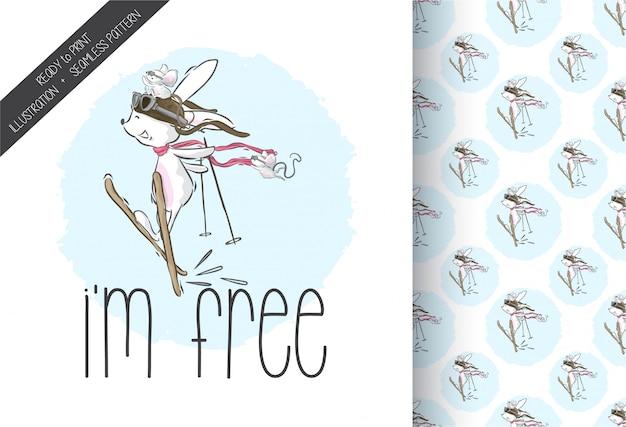 Coelho bonito dos desenhos animados no esqui com padrão sem emenda