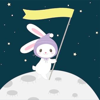 Coelho bonito dos desenhos animados no estilo desenhado lua mão.
