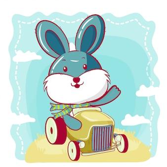 Coelho bonito dos desenhos animados vai em um carro