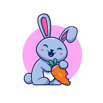 Coelho bonito e cenoura icon ilustração. personagem de desenho animado do coelho logotipo mascote. conceito logotipo animal branco isolado