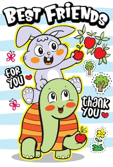 Coelho bonito e tartaruga ilustração dos desenhos animados