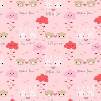 Coelho bonito e urso no amor sem costura padrão