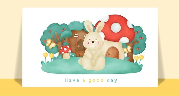 Coelho bonito em aquarela na floresta para cartão de felicitações