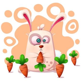 Coelho bonito, engraçado com cenoura