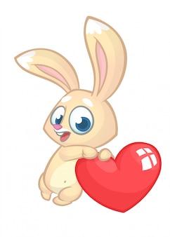 Coelho bonito engraçado com desenhos animados de amor de coração.