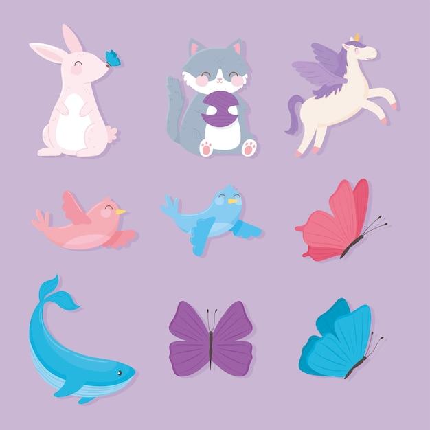 Coelho bonito, gato, unicórnio, borboletas, baleia, pássaros, animais, desenho, ícones, ilustração