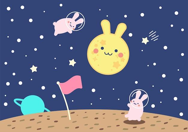 Coelho bonito lua espaço conceitual