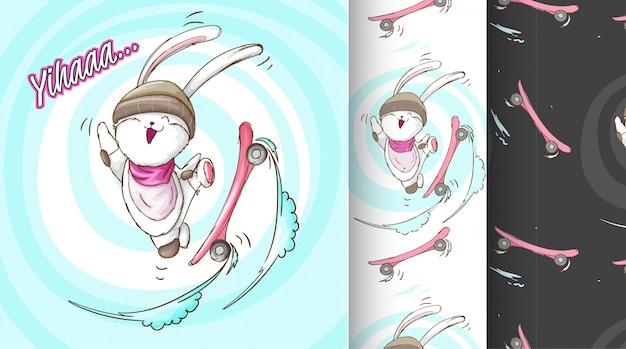 Coelho bonito na ilustração de padrão de placa de skate