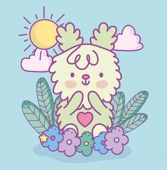 Coelho bonito peludo flores folhas nuvens sol decoração ilustração dos desenhos animados