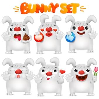 Coelho branco bonito dos desenhos animados emoji personagem na coleção de situações de várias emoções
