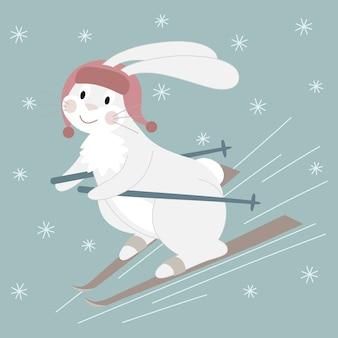 Coelho branco bonito em um chapéu vermelho esquiando. ilustração de personagem dos desenhos animados.