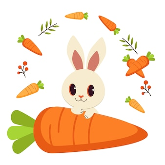 Coelho branco e muitos cenoura e folha.