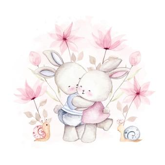Coelho casal aquarela com flor