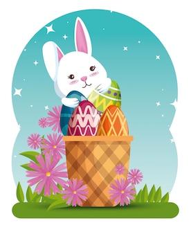 Coelho com decoração de ovos na cesta e flores