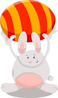 Coelho com ilustração dos desenhos animados do ovo da páscoa