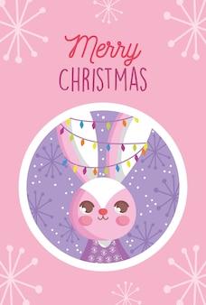 Coelho com luzes na ilustração de feliz natal flocos de neve de orelhas