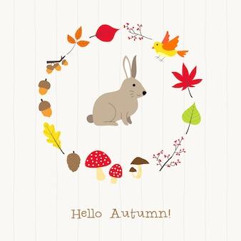 Coelho, com, outono, cartão quadro