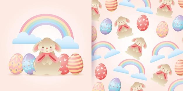 Coelho com ovos de páscoa e nuvens com arco-íris e padrão sem emenda