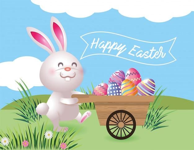 Coelho, com, ovos, decoração, dentro, carrinho de mão, para, evento