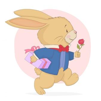Coelho correndo com caixa de presente e rosa