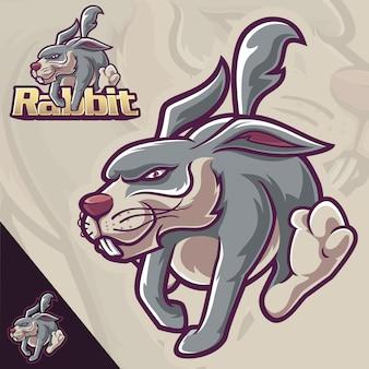 Coelho correr mascote esporte logotipo