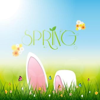 Coelho da páscoa, cartão de promoção de venda de primavera