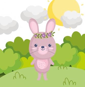 Coelho de animais fofos com flores na cabeça grama arbustos dia dos desenhos animados